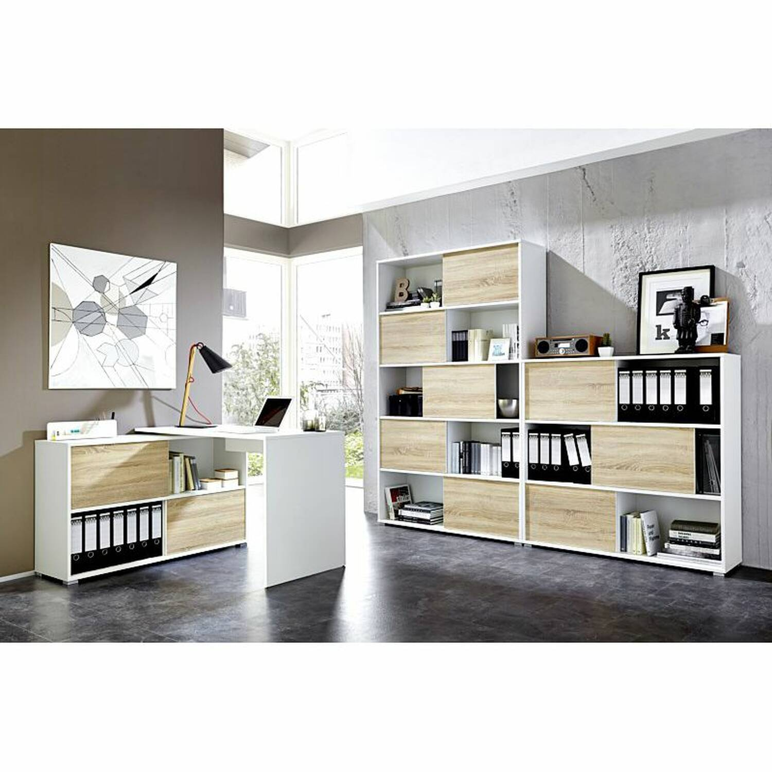 schreibtisch mit aktenregal manhatten 01 wei. Black Bedroom Furniture Sets. Home Design Ideas