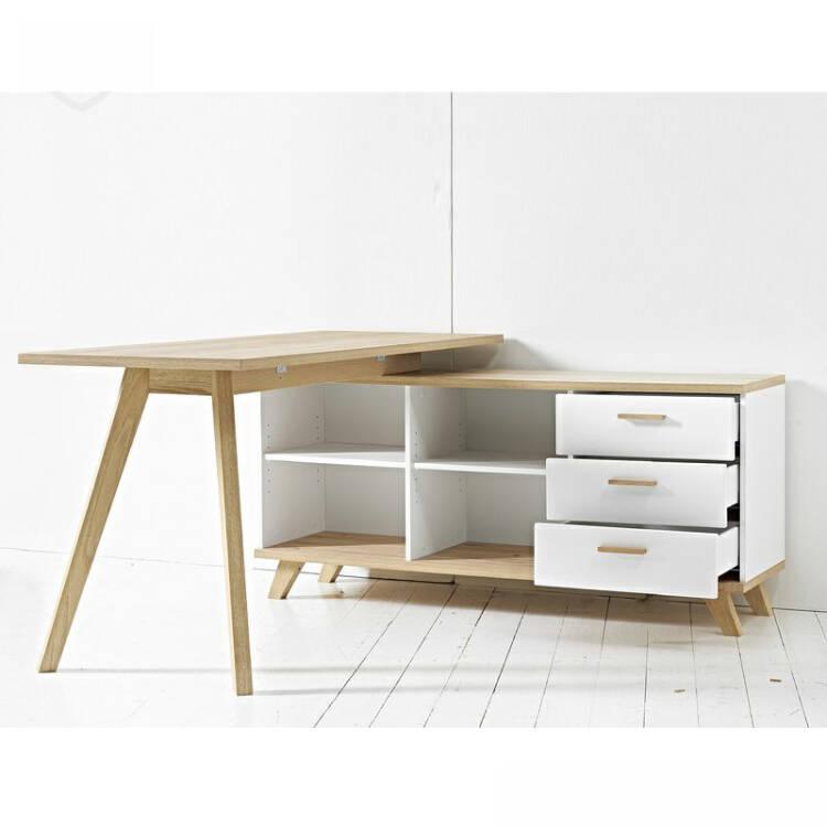 schreibtisch mit sideboard soslo 01 supermatt wei s. Black Bedroom Furniture Sets. Home Design Ideas