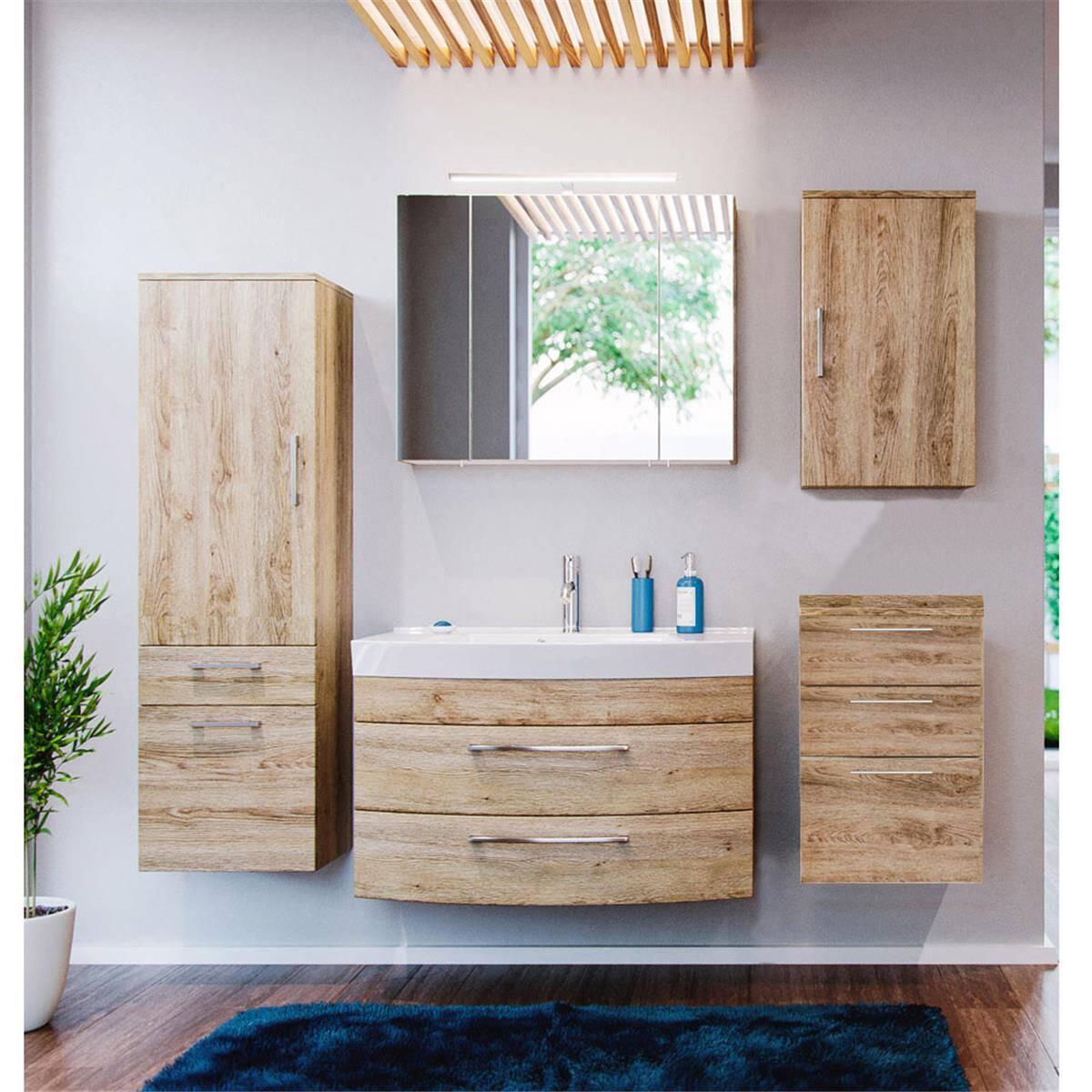 Badmöbel Set RIMAO-02 Eiche Sonoma, 80cm Waschtisch & LED Spiegelschrank, B x H x T: ca. 202 x 190 x 48,5 cm