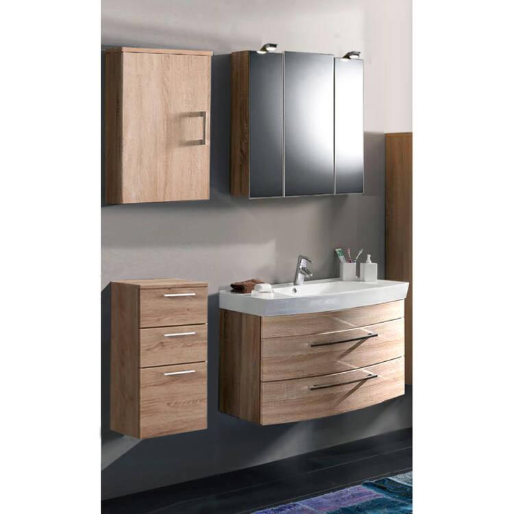 Badmobel Holz Modern Eiche Sonoma Set Rimao 02 80cm Waschtisch Spieg