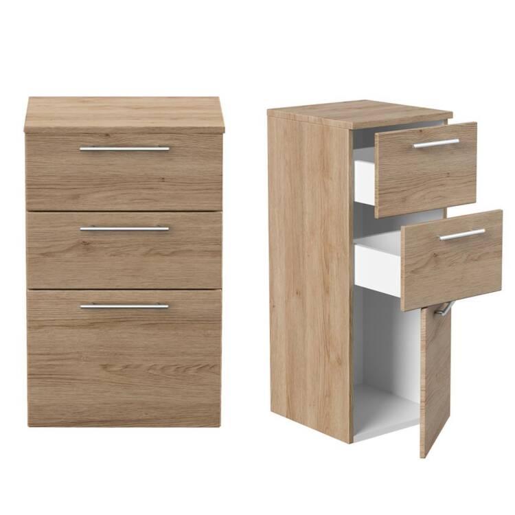 Badmobel Holz Modern Eiche Sonoma Set Rimao 02 80cm W