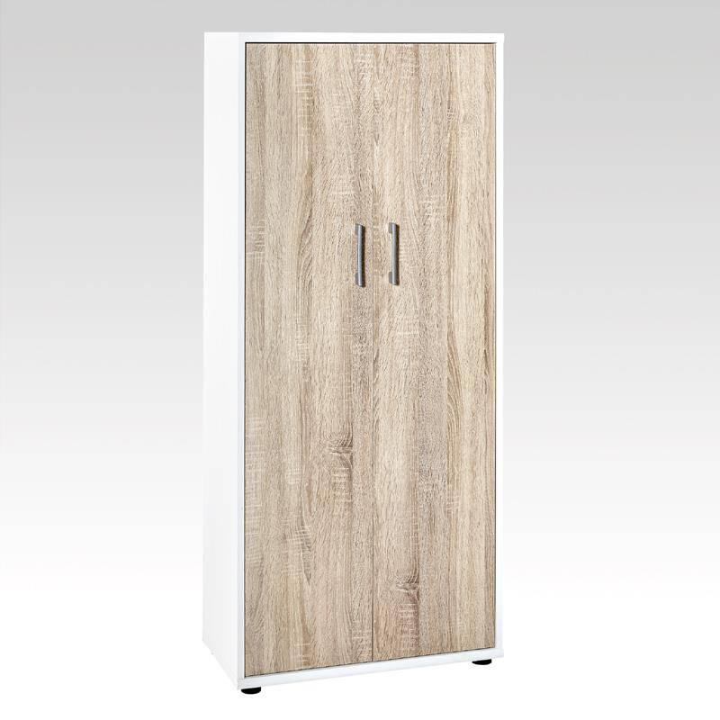 Aktenschrank 4 OH, STETTIN-16 weiß/Sonoma-Eiche B x H x T: 65 x 147 x 34 cm