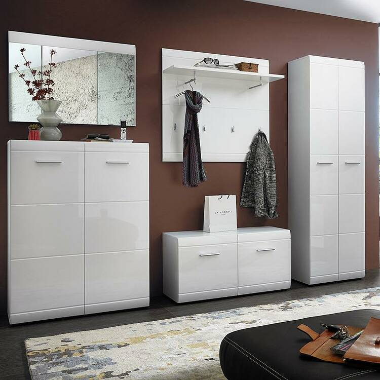 garderoben set danaro 01 hochglanz wei 5 teilig b x h. Black Bedroom Furniture Sets. Home Design Ideas