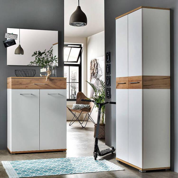 garderoben set dakota 01 wei navarra eiche nb b x. Black Bedroom Furniture Sets. Home Design Ideas