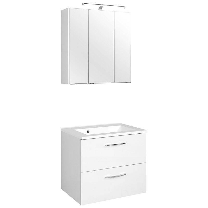 Waschtisch & Spiegelschrank Set BERGAMO-03, weiß, B x H x T ca.: 60 x 200 x 35cm