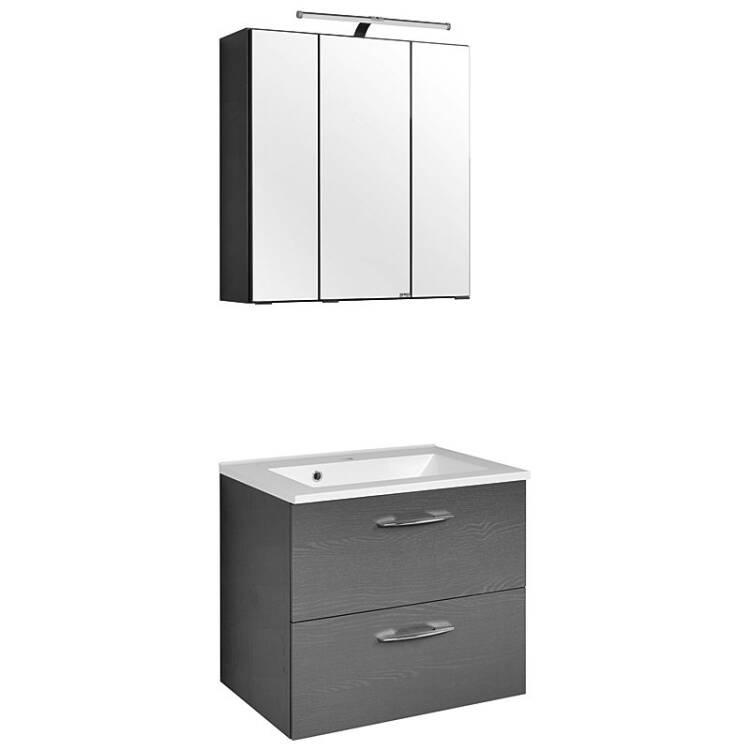 waschtisch spiegelschrank set bergamo 03 graphitgr. Black Bedroom Furniture Sets. Home Design Ideas
