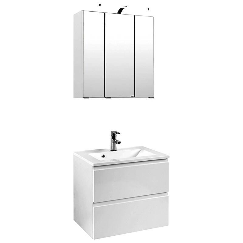 Waschplatz Set COMO-03, Hochglanz weiß, B x H x T ca.: 60 x 200 x 47cm