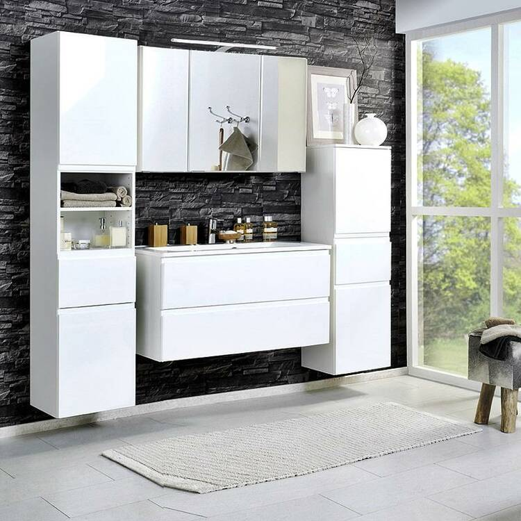 badm bel set como 03 4 teilig hochglanz wei 100cm. Black Bedroom Furniture Sets. Home Design Ideas