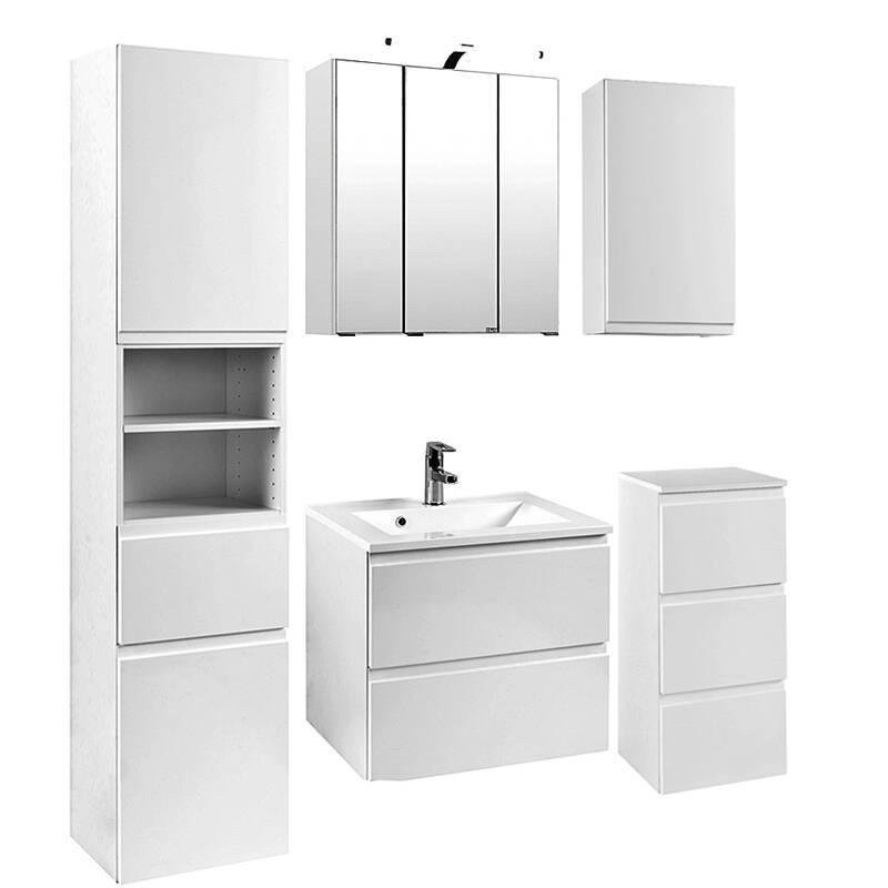 Badmöbel Set COMO-03, 5-teilig Hochglanz weiß, 60cm Waschtisch
