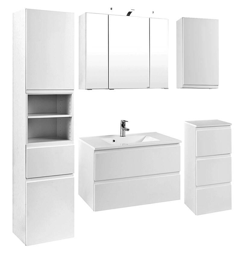 badm bel set como 03 5 teilig hochglanz wei szl. Black Bedroom Furniture Sets. Home Design Ideas