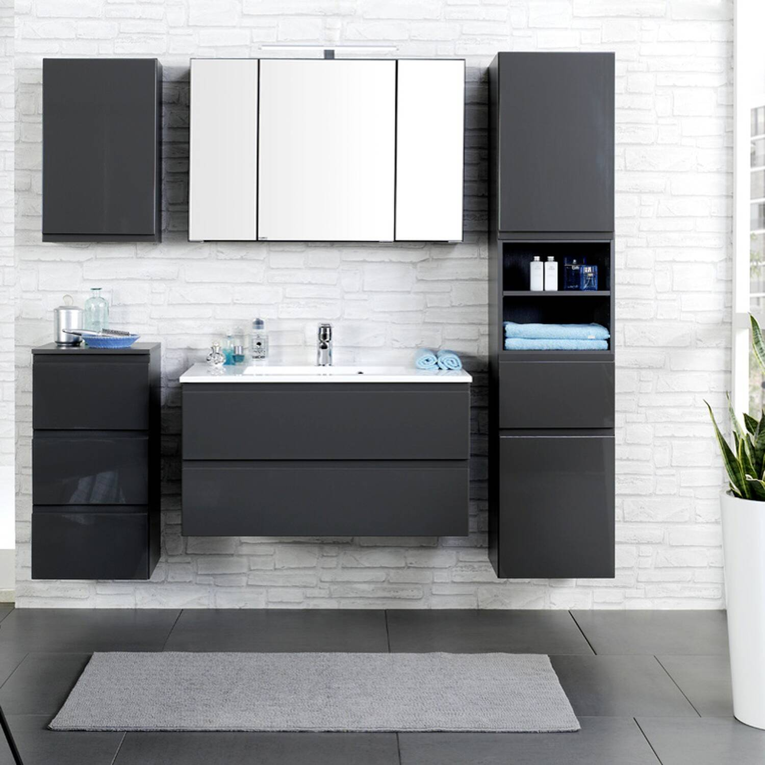 badm bel set como 03 5 teilig hochglanz grau. Black Bedroom Furniture Sets. Home Design Ideas
