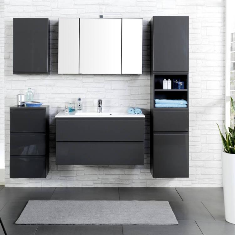badm bel set como 03 5 teilig hochglanz grau. Black Bedroom Furniture Sets. Home Design Ideas