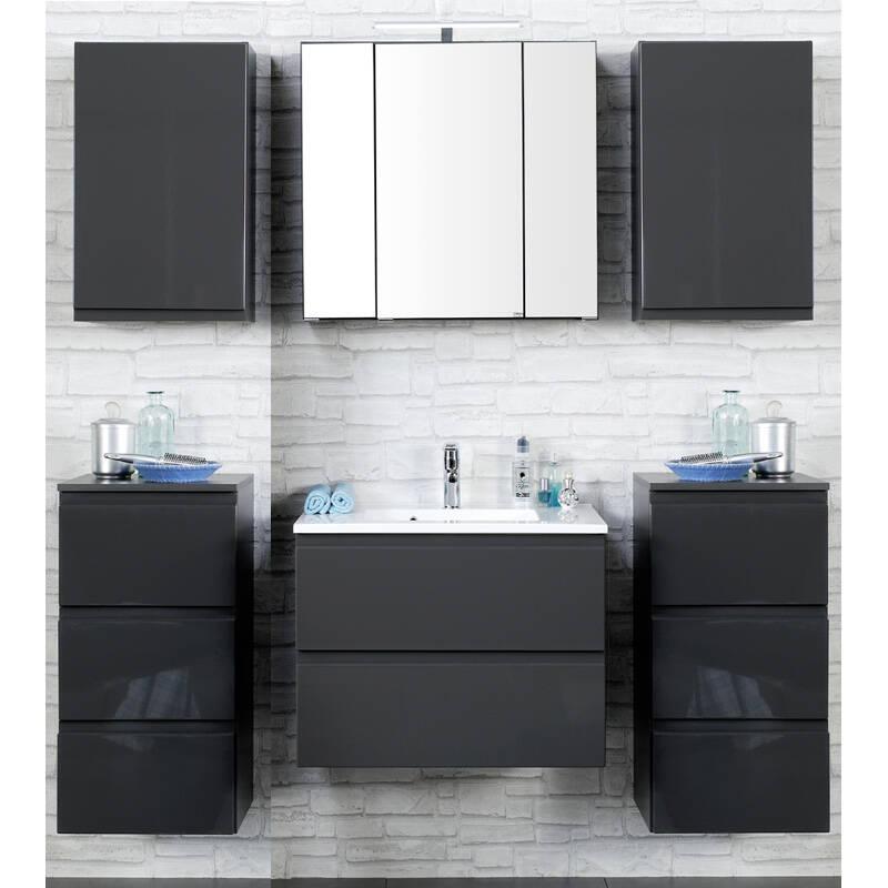 badm bel set como 03 6 teilig hochglanz grau 6. Black Bedroom Furniture Sets. Home Design Ideas