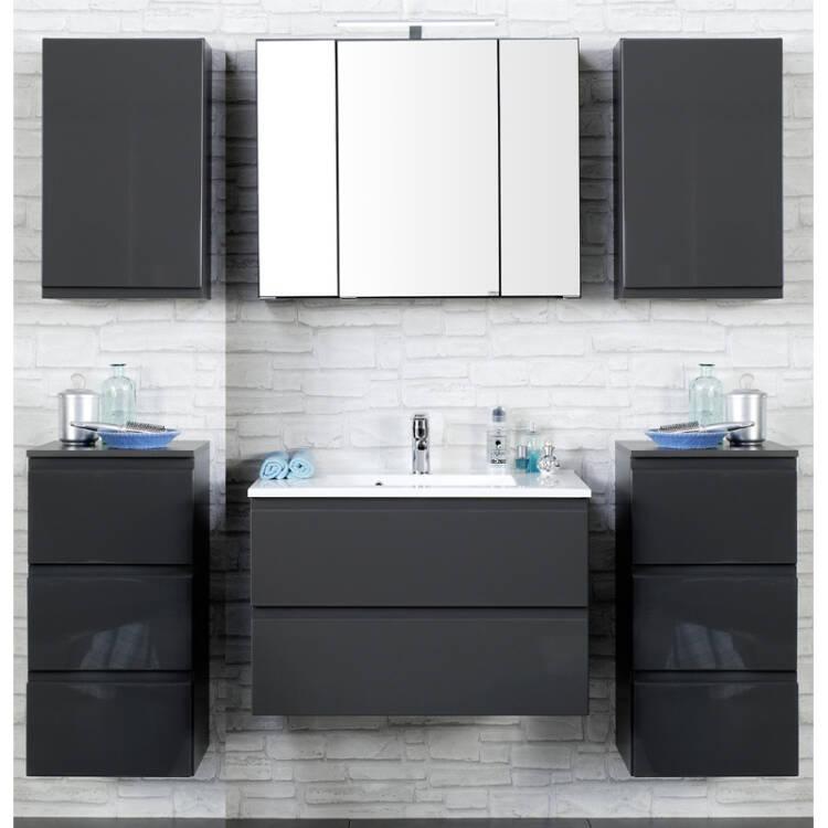 badm bel set como 03 6 teilig hochglanz grau 8. Black Bedroom Furniture Sets. Home Design Ideas