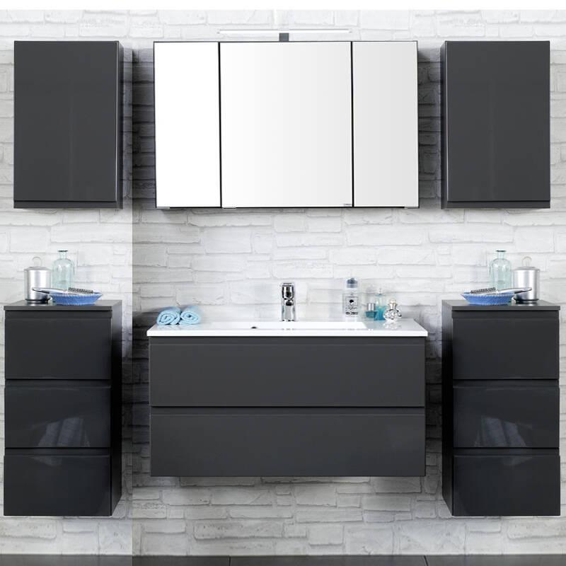 Badmöbel Set COMO-03, 6-teilig, Hochglanz grau, 100cm Waschtisch