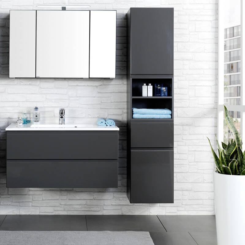 badm bel set como 03 3 teilig hochglanz grau. Black Bedroom Furniture Sets. Home Design Ideas