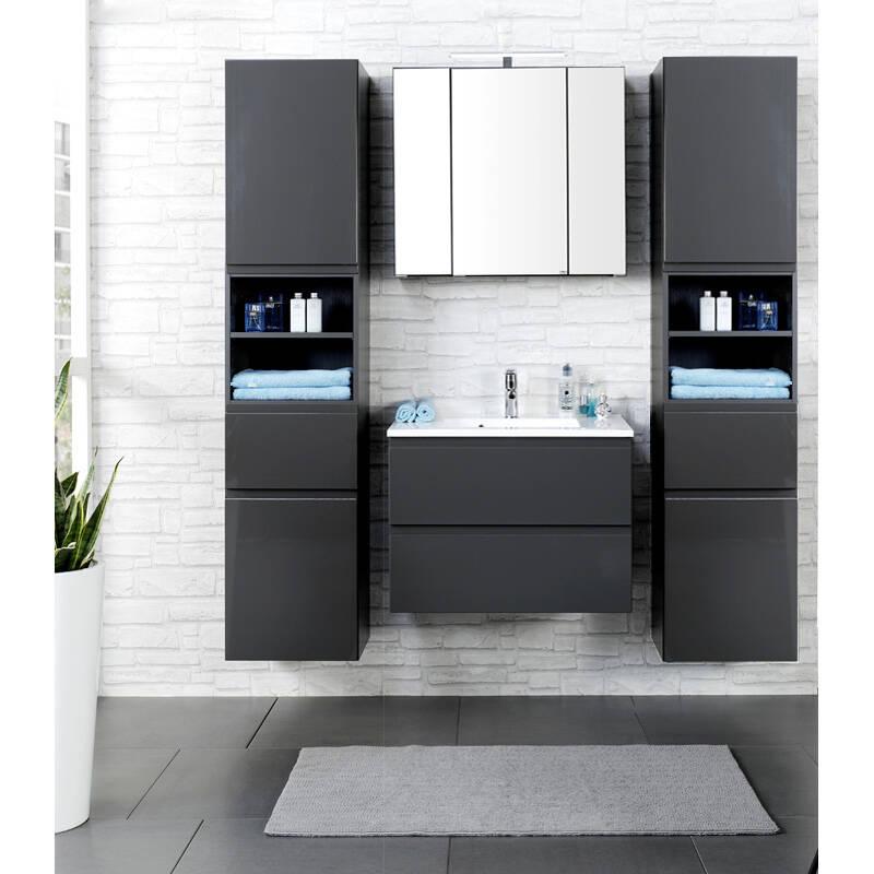 Badmöbel Set COMO-03, 4-teilig, 2 Hochschränke, Hochglanz grau, 60cm Waschtisch