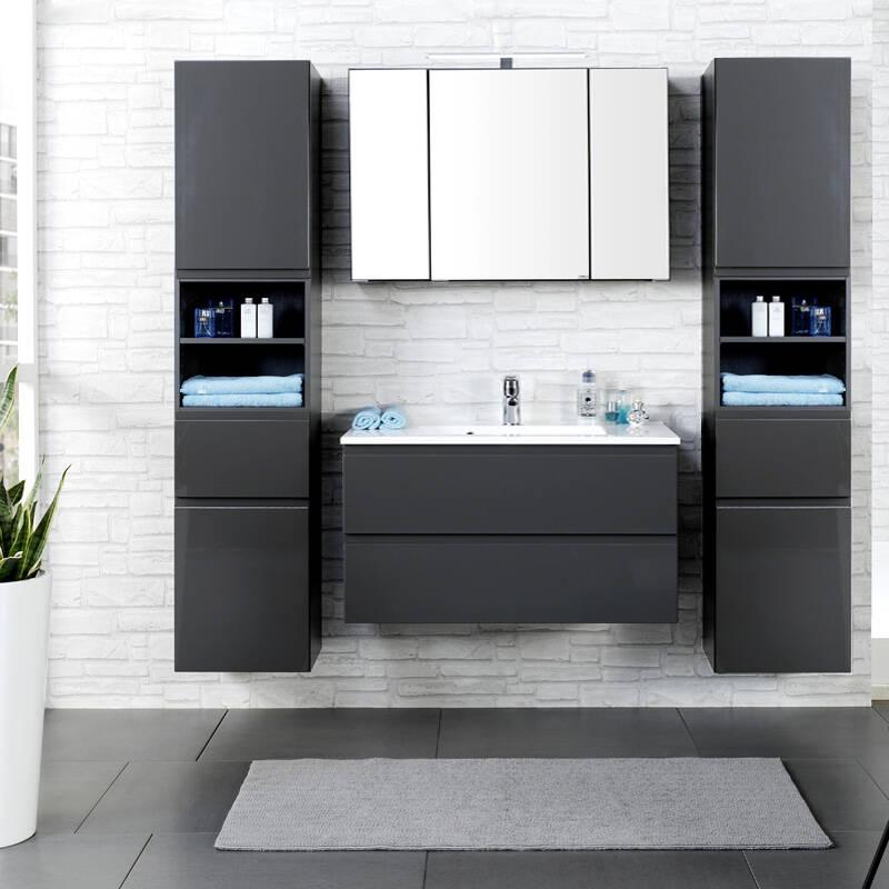 Badmöbel Set COMO-03, 4-teilig, 2 Hochschränke, Hochglanz grau, 100cm Waschtisch