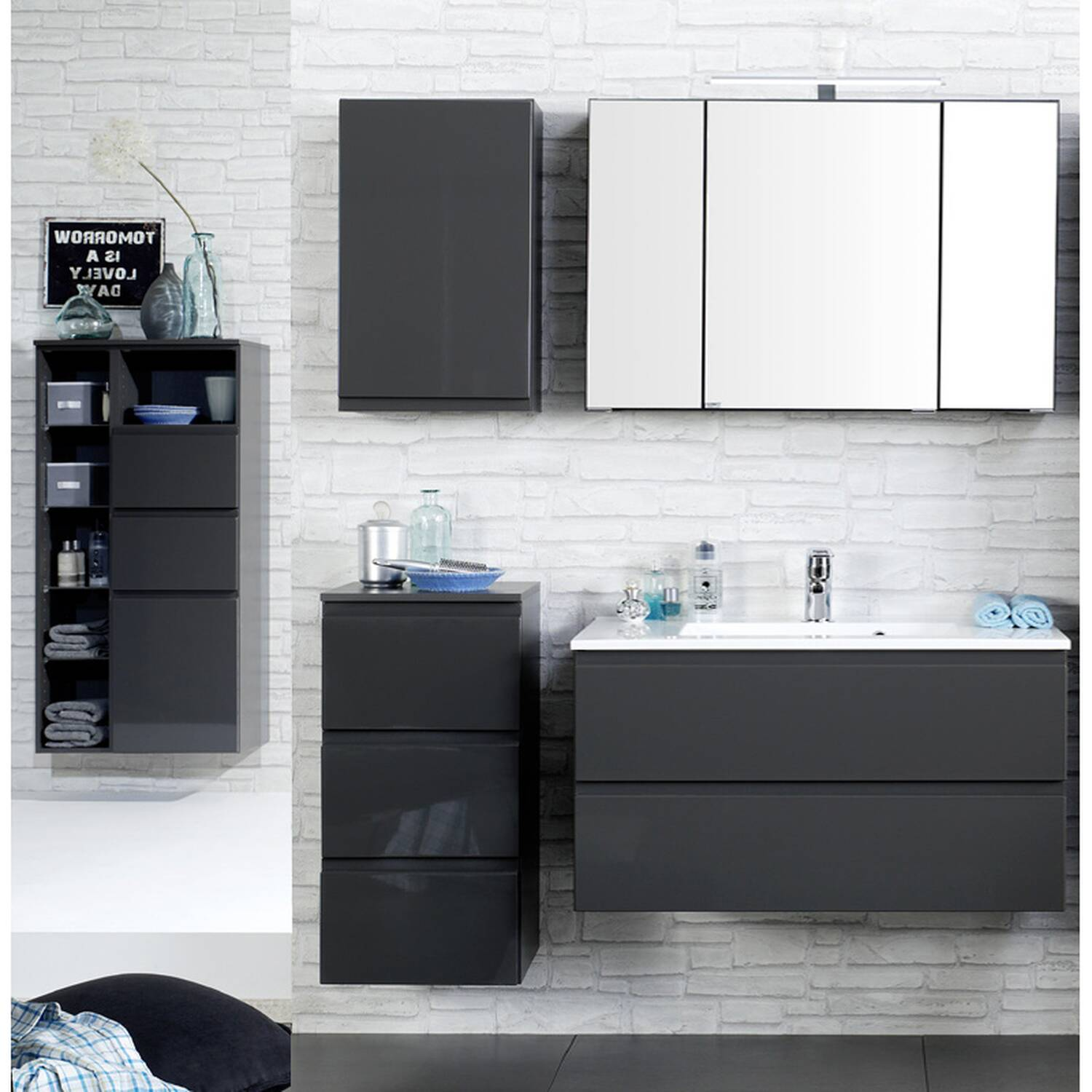 badm bel set como 03 5 teilig inkl midischrank. Black Bedroom Furniture Sets. Home Design Ideas
