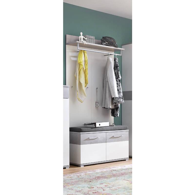 garderoben set dakota 01 wei beton optik inkl. Black Bedroom Furniture Sets. Home Design Ideas