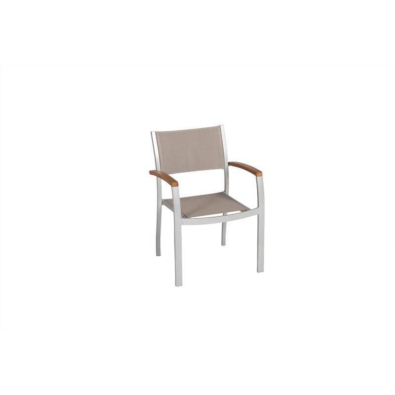 Sessel 2er Set Almeria-29 Aluminiumprofilrohr mit Textilgewebe und Akazienholz