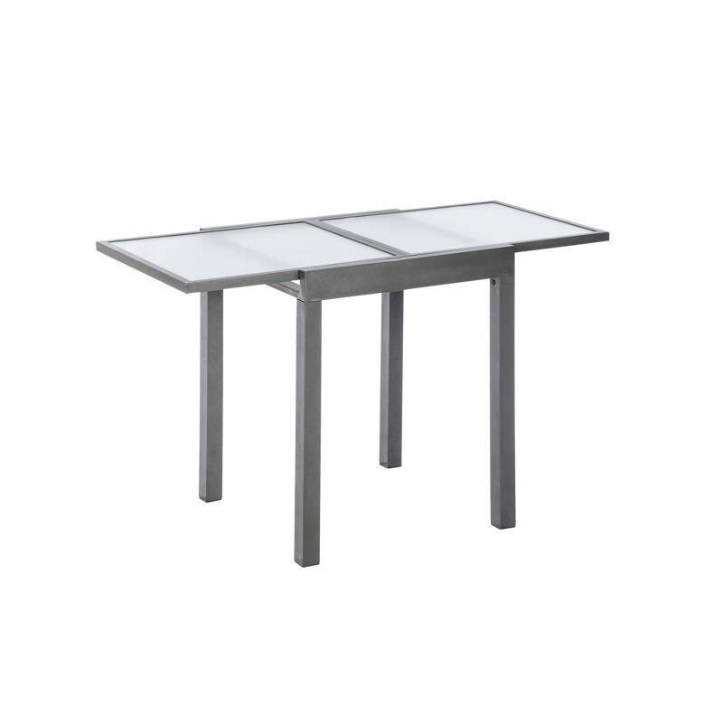 Balkonausziehtisch Aluminium silber/grau, BxHxT: ca. 65/130x75x65cm