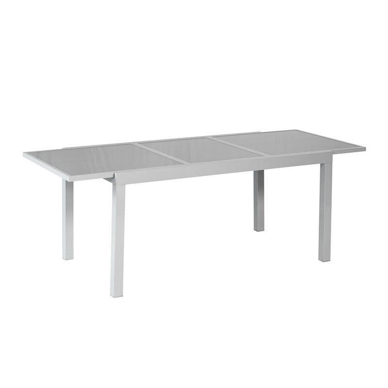 Ausziehtisch Aluminium silber/ grau , BxHxT: ca. 120/ 180x75x90cm