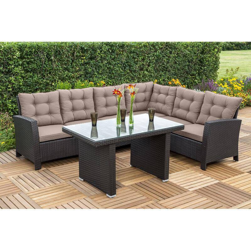 eckbank mit tisch rompido 29 stahl kunststoffgeflech. Black Bedroom Furniture Sets. Home Design Ideas