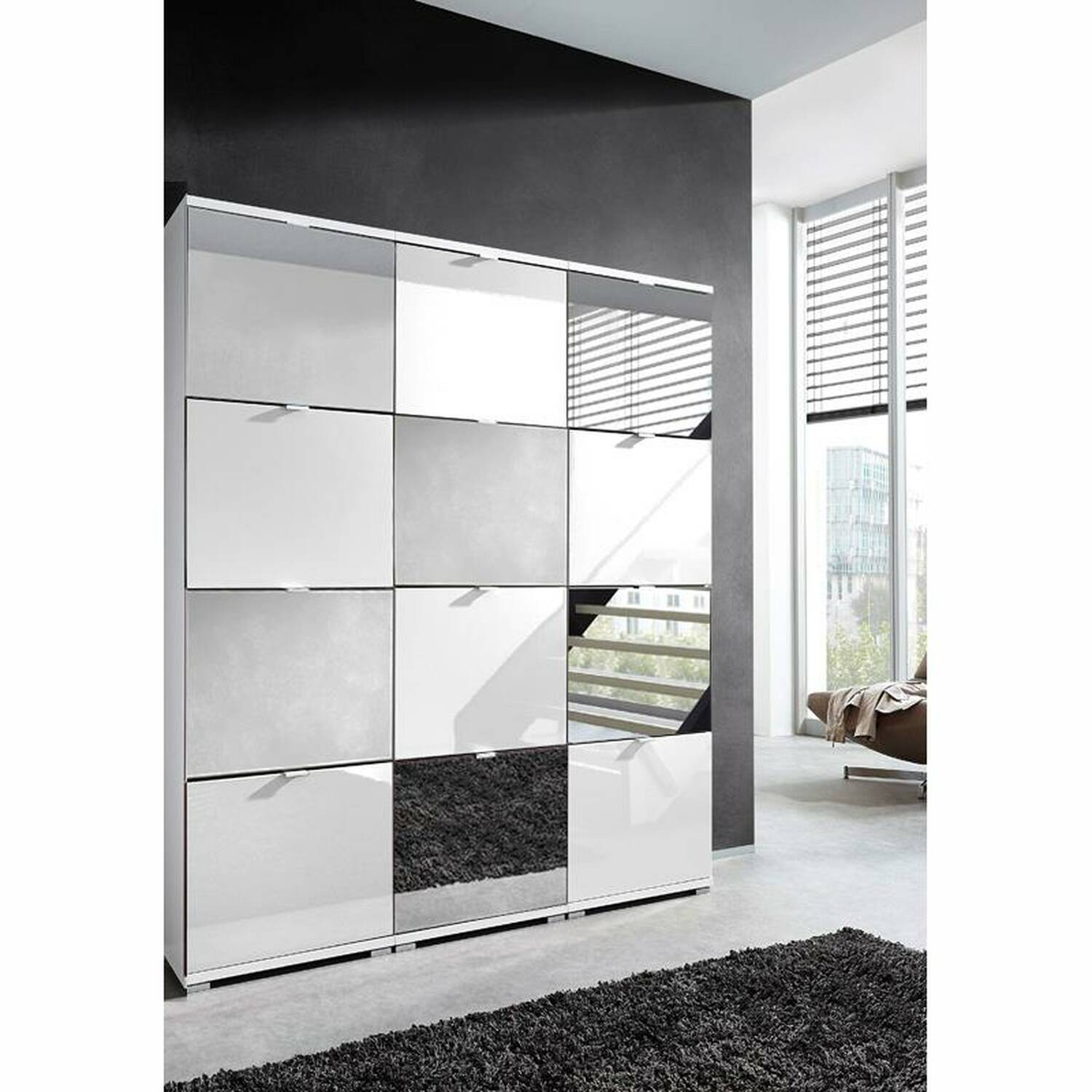 xl schuhschrank detroit 01 f r 48 paar schuhe h. Black Bedroom Furniture Sets. Home Design Ideas