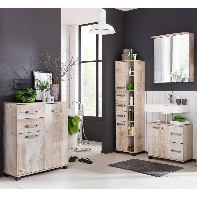 Badmöbel Set LIMA-04 Findusschalung, 60cm Spiegelschrank, BxHxT: ca. 227,6x200x32cm