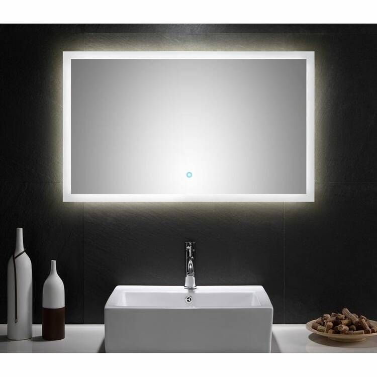 led spiegel mit touch bedienung b x h x t ca 100 x. Black Bedroom Furniture Sets. Home Design Ideas