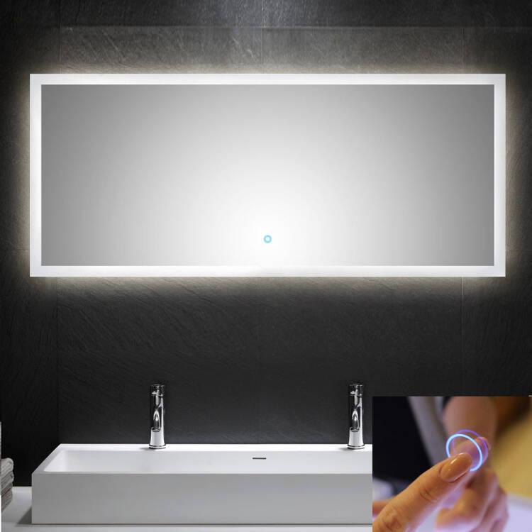 led spiegel mit touch bedienung b x h x t ca 140 x. Black Bedroom Furniture Sets. Home Design Ideas