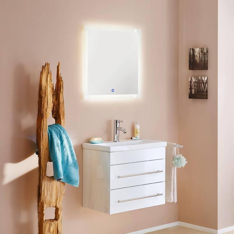 Badmöbelset SALLY-02 60 S Keramik-Waschtisch in Hochglanz weiß mit LED Spiegel