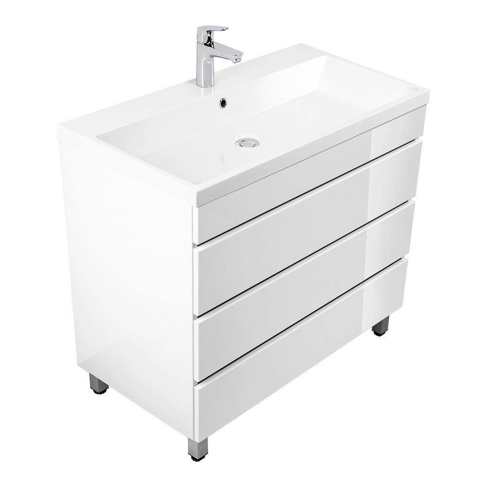Badmöbel Standwaschtisch Set Hochglanz weiß KASSANDRA-02 mit 91cm Waschbecken 91 x 83,5-85,5 x 49 cm