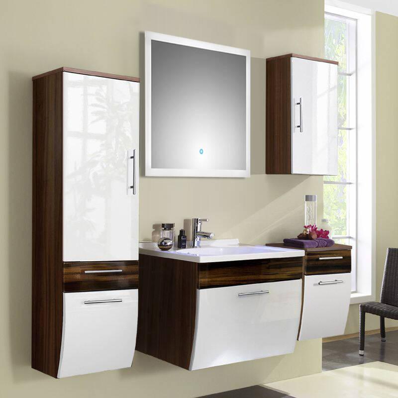 Badmöbel Set 5-tlg TALONA-02 Hochglanz weiß, Walnuss, 70cm Waschtisch, LED-Spiegel