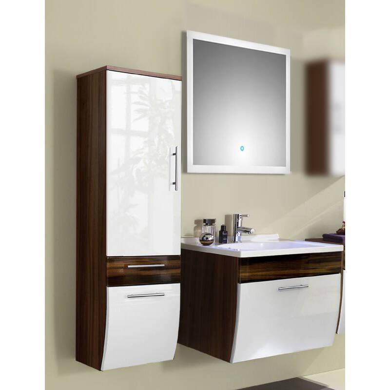 Badmöbel Set 3-tlg TALONA-02 Hochglanz weiß, Walnuss, 70cm Waschtisch, LED-Spiegel