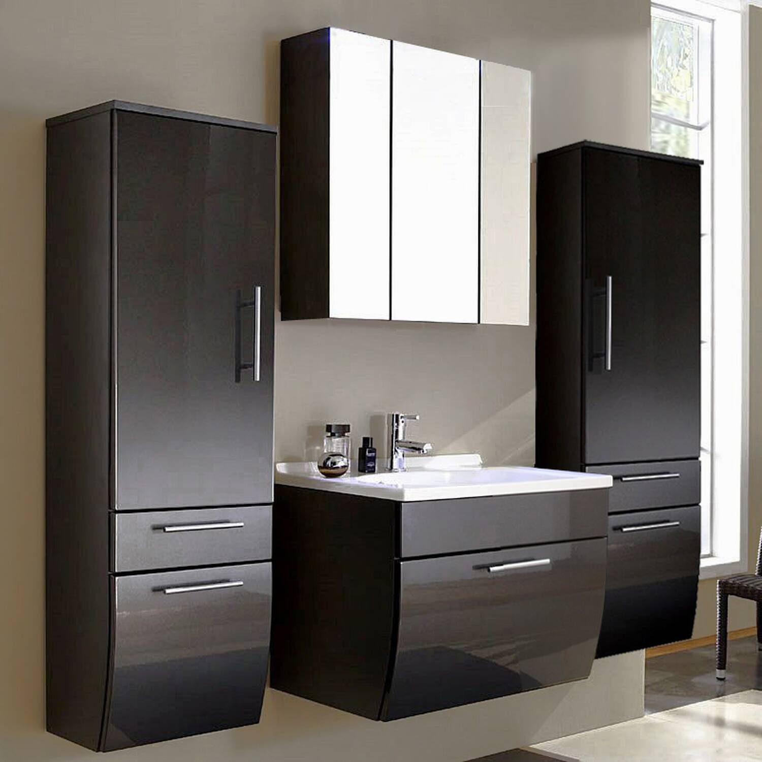 badm bel set talona 02 hochglanz anthrazit 70cm. Black Bedroom Furniture Sets. Home Design Ideas