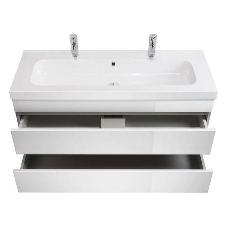 Badezimmer Doppelwaschtisch AGAMEMNON in Hochglanz we