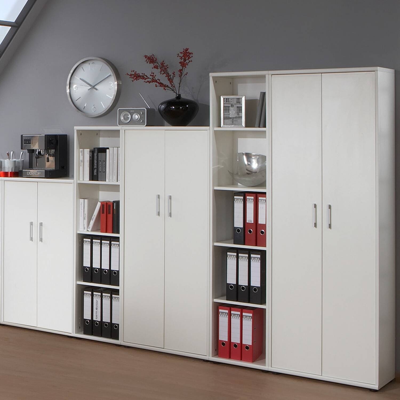 Aktenschrank Set STETTIN-16 weiß, 3 Aktenschränke, 2 Aktenregale, B x H x T: ca. 275 x 182 x 34 cm