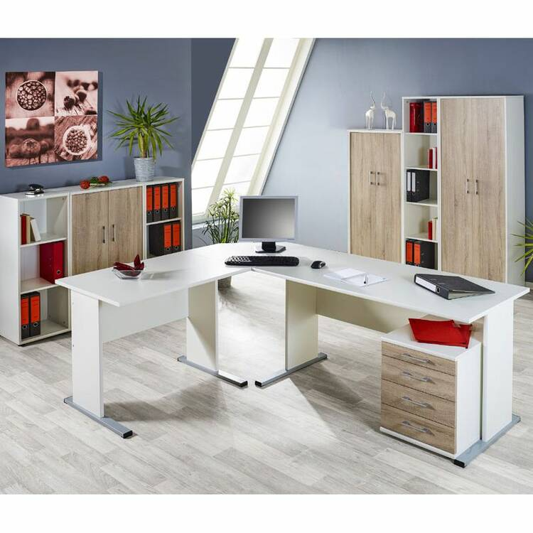 b rom bel set stettin 16 wei sonoma eiche eckschre. Black Bedroom Furniture Sets. Home Design Ideas