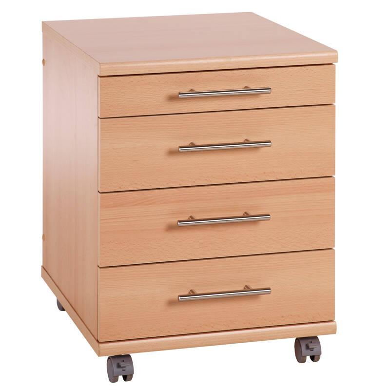 Rollcontainer / Standcontainer TYP527 Buche Nachbildung, B x H x T ca.: 42 x 57 x 50 cm