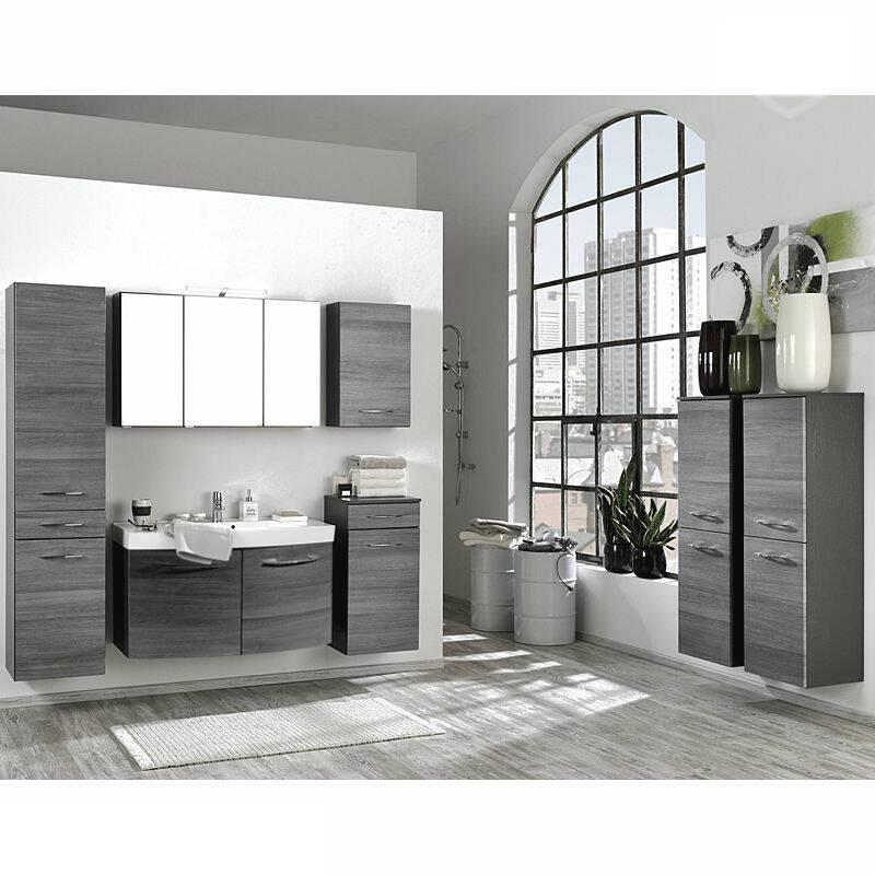 Badmöbel Set Waschtisch mit 2 Türen FLORIDO-03 Eiche Rauchsilber, graphitgrau (7 teilig)