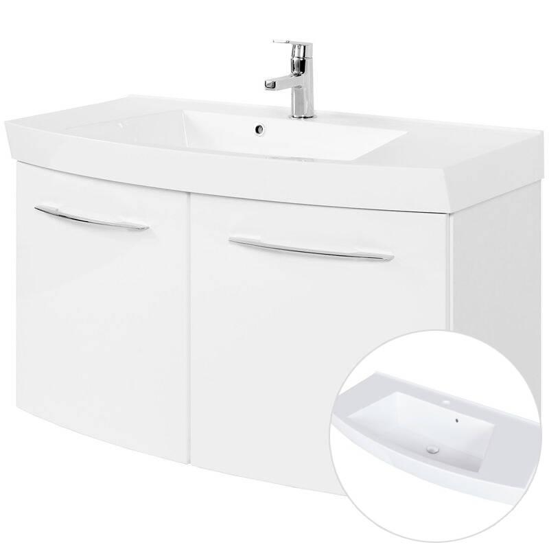 Waschtisch FLORIDO-03 Hochglanz weiß, 2 Türen, B x H x T: 100 x 54 x 47 cm
