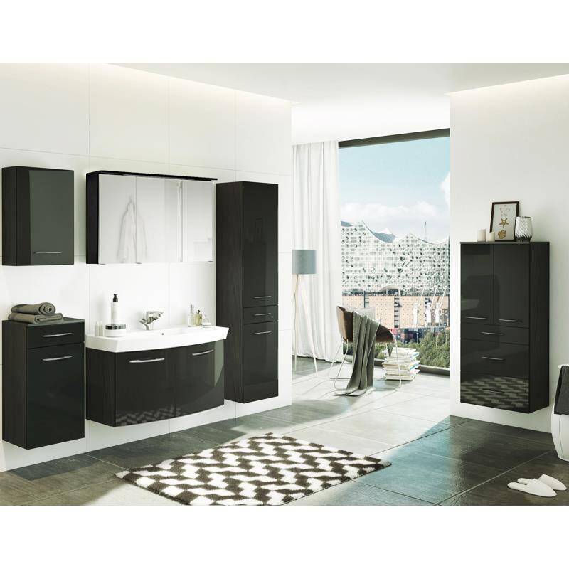 Badmöbel Set FLORIDO-03 Hochglanz grau, graphitgrau, 6-teilig, B x H x T: ca. 210 x 200 x 47 cm Waschtisch mit 2 Türen
