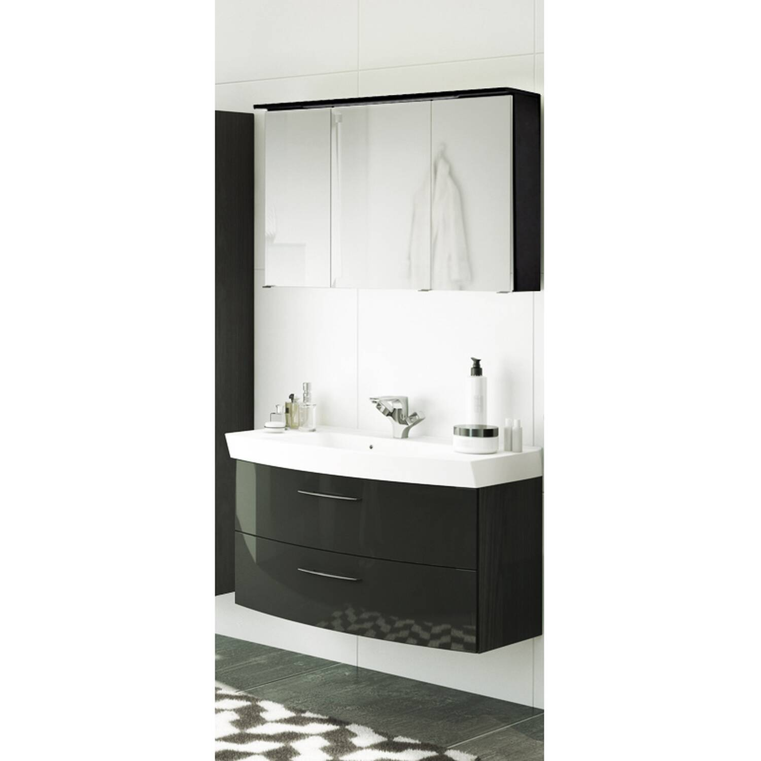 waschtisch spiegelschrank set florido 03 hochgl. Black Bedroom Furniture Sets. Home Design Ideas
