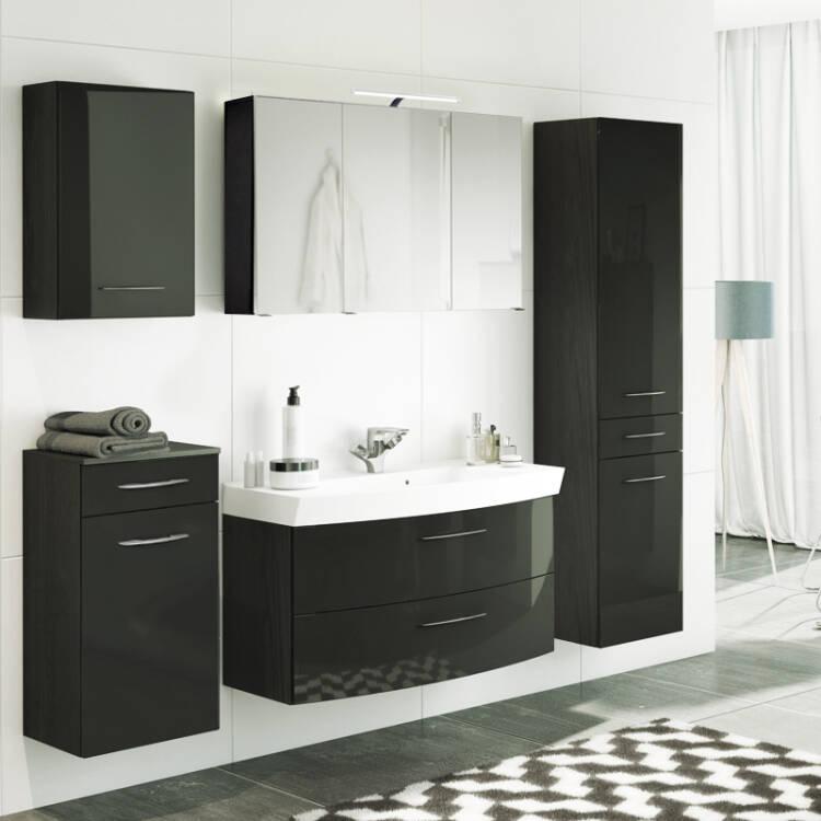 Extrem Badmöbel Set FLORIDO-03 Hochglanz grau, Waschtisch mit 2 Auszügen oder GD77