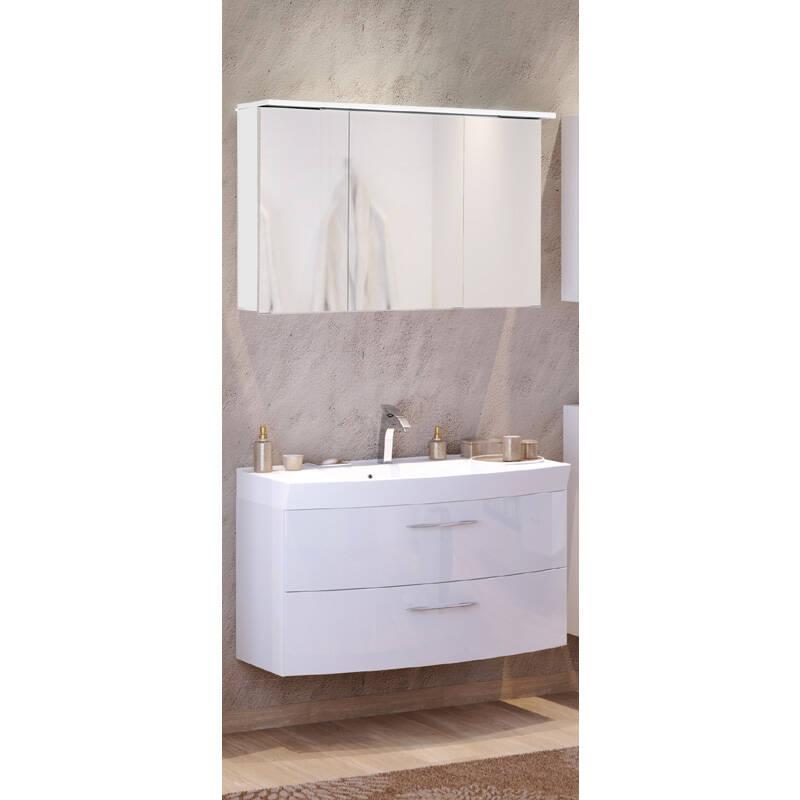 Waschtisch & Spiegelschrank Set FLORIDO-03 Hochglanz weiß, Waschtisch mit Auzügen oder 2 Türen, B x H x T: ca. 100 x 200 x 47 cm
