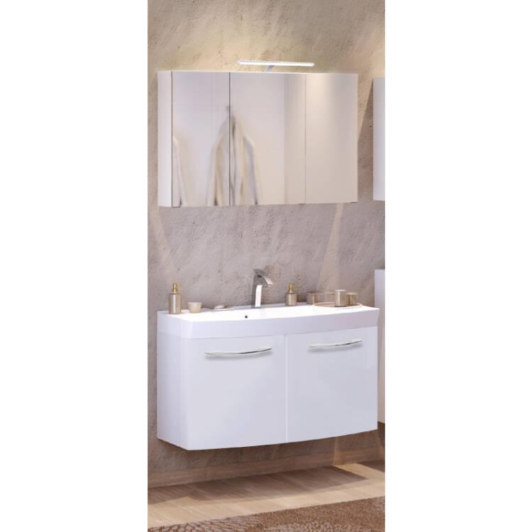 waschtisch spiegelschrank set florido 03 hochglanz wei. Black Bedroom Furniture Sets. Home Design Ideas