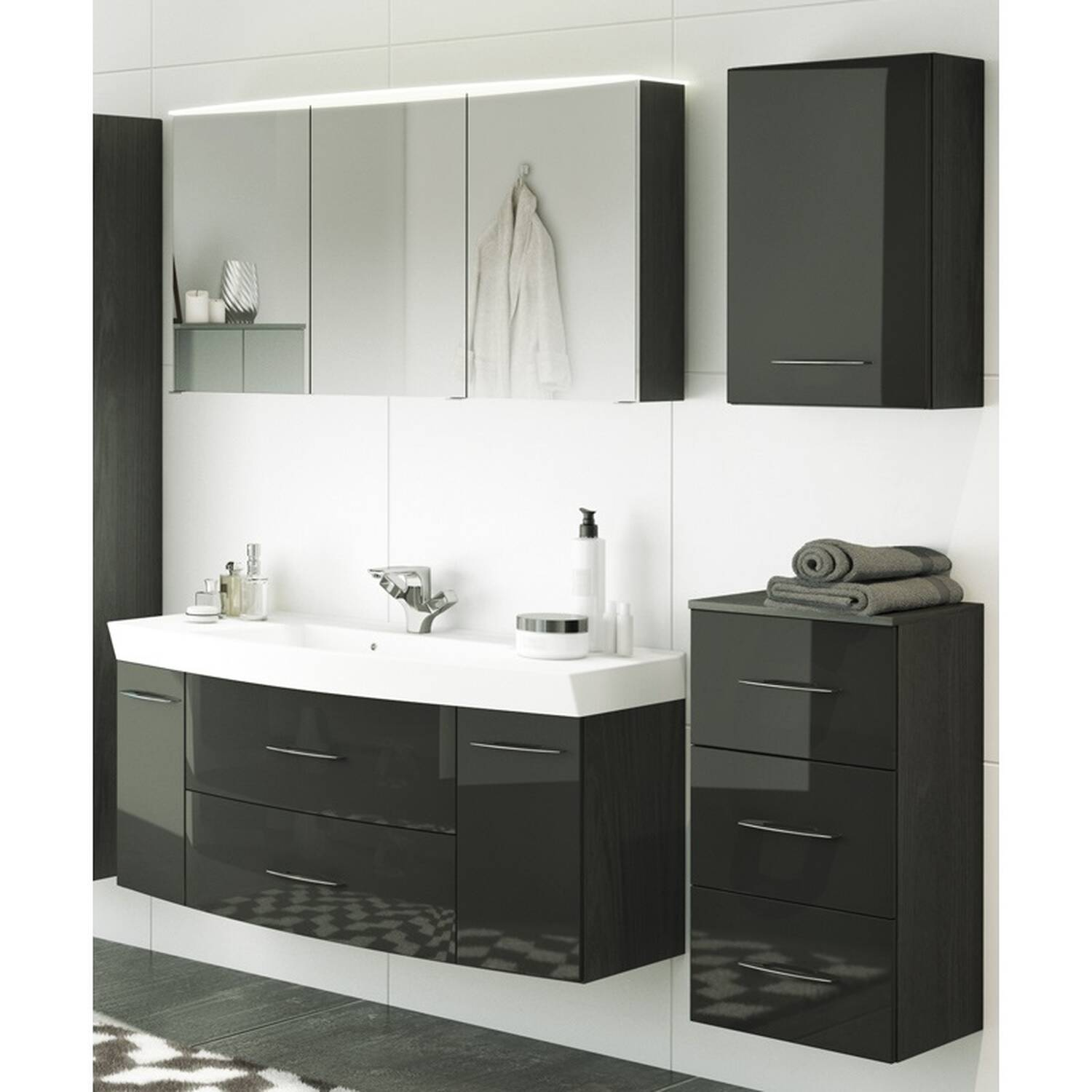 badm bel set florido 03 hochglanz grau graphitg. Black Bedroom Furniture Sets. Home Design Ideas