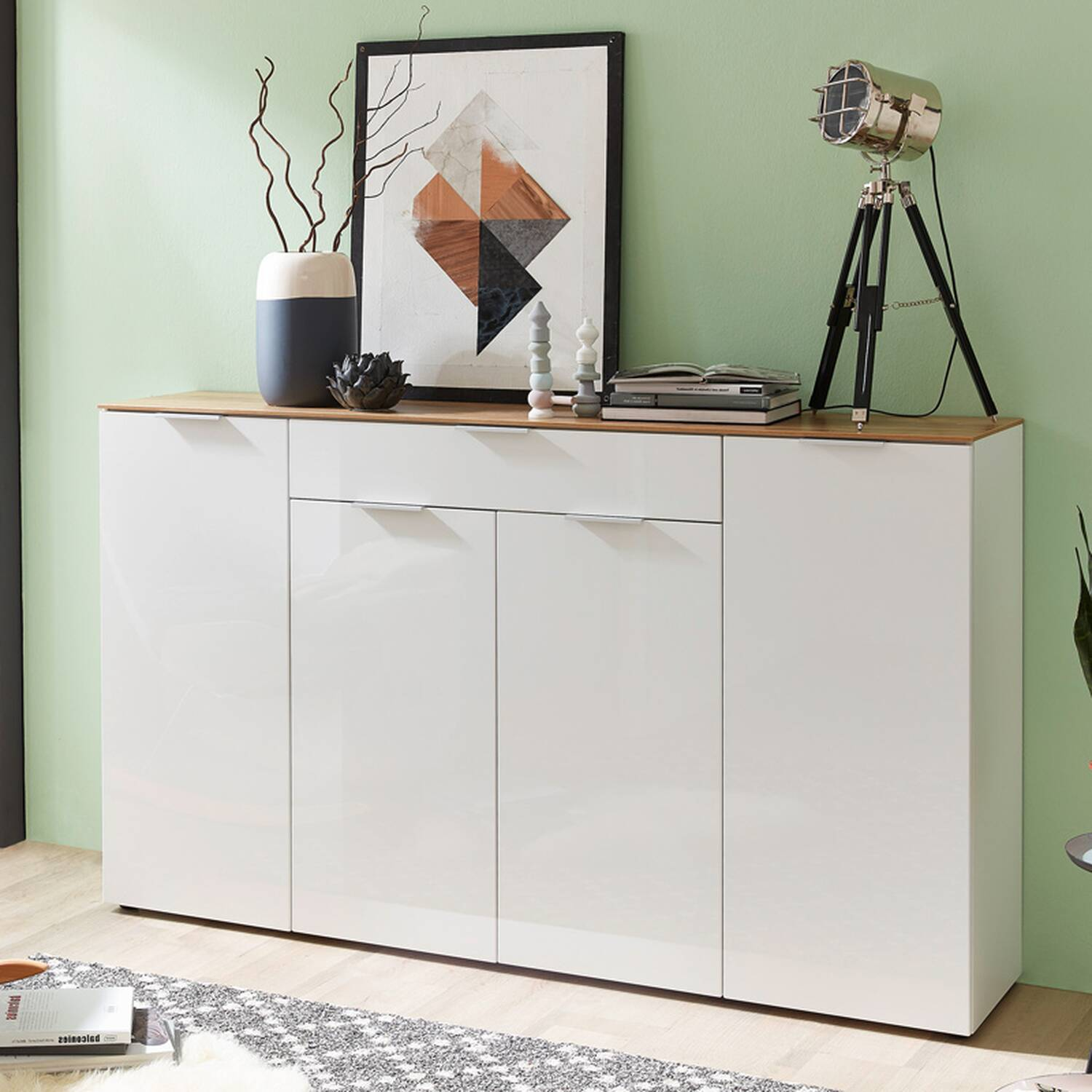 sideboard victoria 01 hochglanz wei navarra e. Black Bedroom Furniture Sets. Home Design Ideas